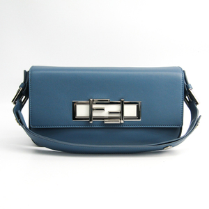 Fendi Trebagget 8BR720 Women's Leather Clutch Bag,Handbag,Shoulder Bag Light Blue,White