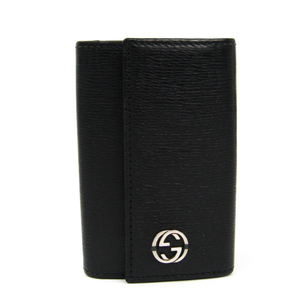 Gucci Interlocking G 408804 Men's Leather Key Case Black