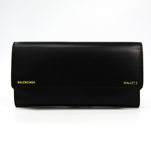 Balenciaga 529281 Unisex Leather Long Wallet (bi-fold) Black