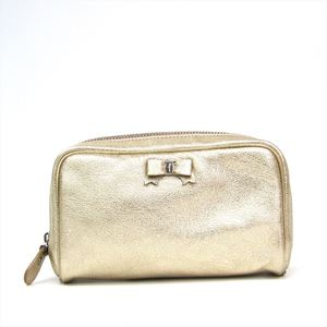 Salvatore Ferragamo Vara 22 7668 Women's Leather Pouch Gold