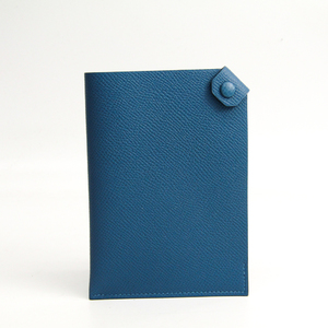 Hermes Tarmac PM Epsom Leather Passport Cover Azur