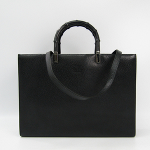 Gucci Bamboo 002 1034 Women's Leather Tote Bag Black