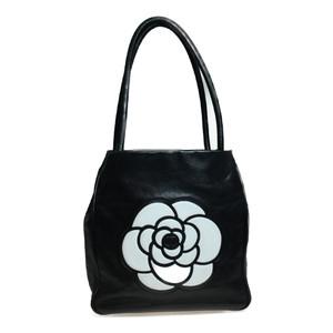 Auth Chanel Camellia Leather Handbag houlder Bag Black