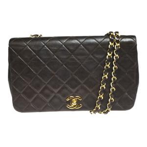 Auth Chanel Matelasse Lambskin Leather Shoulder Bag Brown