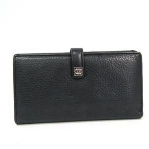Chanel Women's Leather Long Wallet (bi-fold) Black