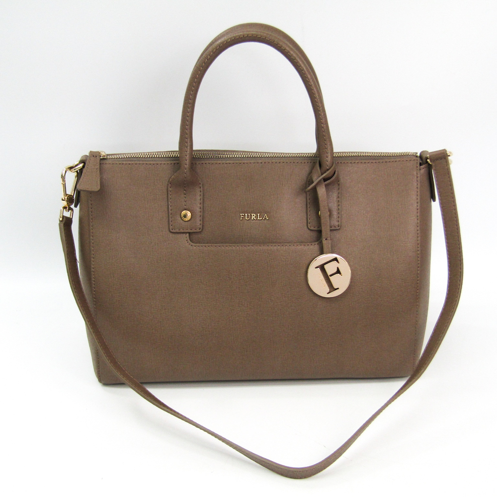 Furla Linda M Satchel 787811 Women's Leather Handbag Grayish