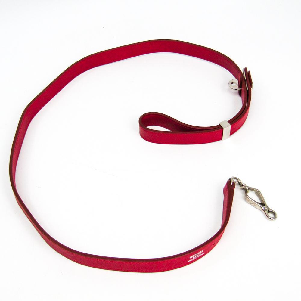 Hermes Dog Leash Epsom Leather Red