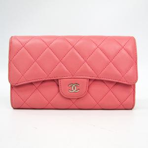 Chanel Matelasse A31506 Women's  Lambskin Long Wallet (tri-fold) Pink