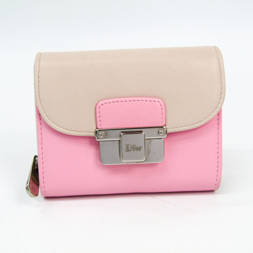 Christian Dior Diorling Compact Wallet Women's Leather Wallet Light Beige,Pink