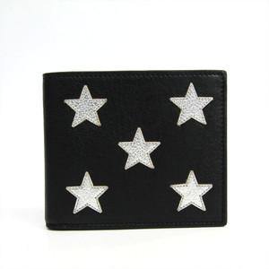 Saint Laurent 361320 Unisex Leather Bill Wallet (bi-fold) Black,Silver