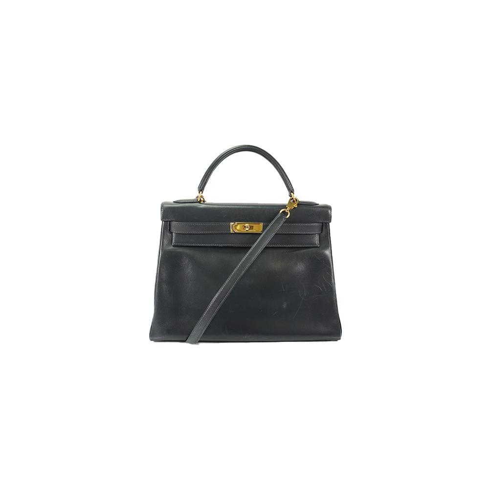 Auth Hermes Kelly 32 Handbag ○X Navy