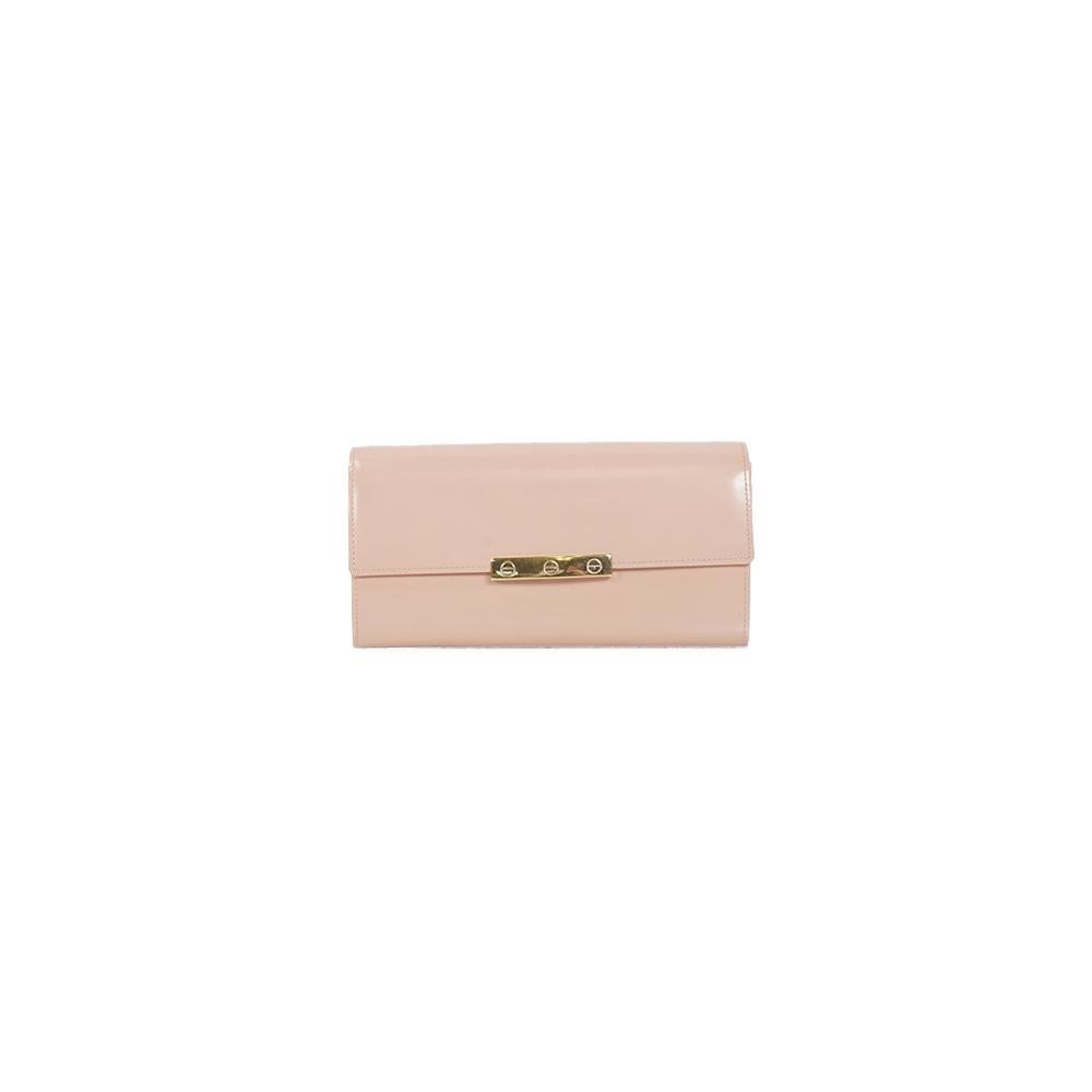 Auth Cartier Long Wallet Love Pink Beige Gold