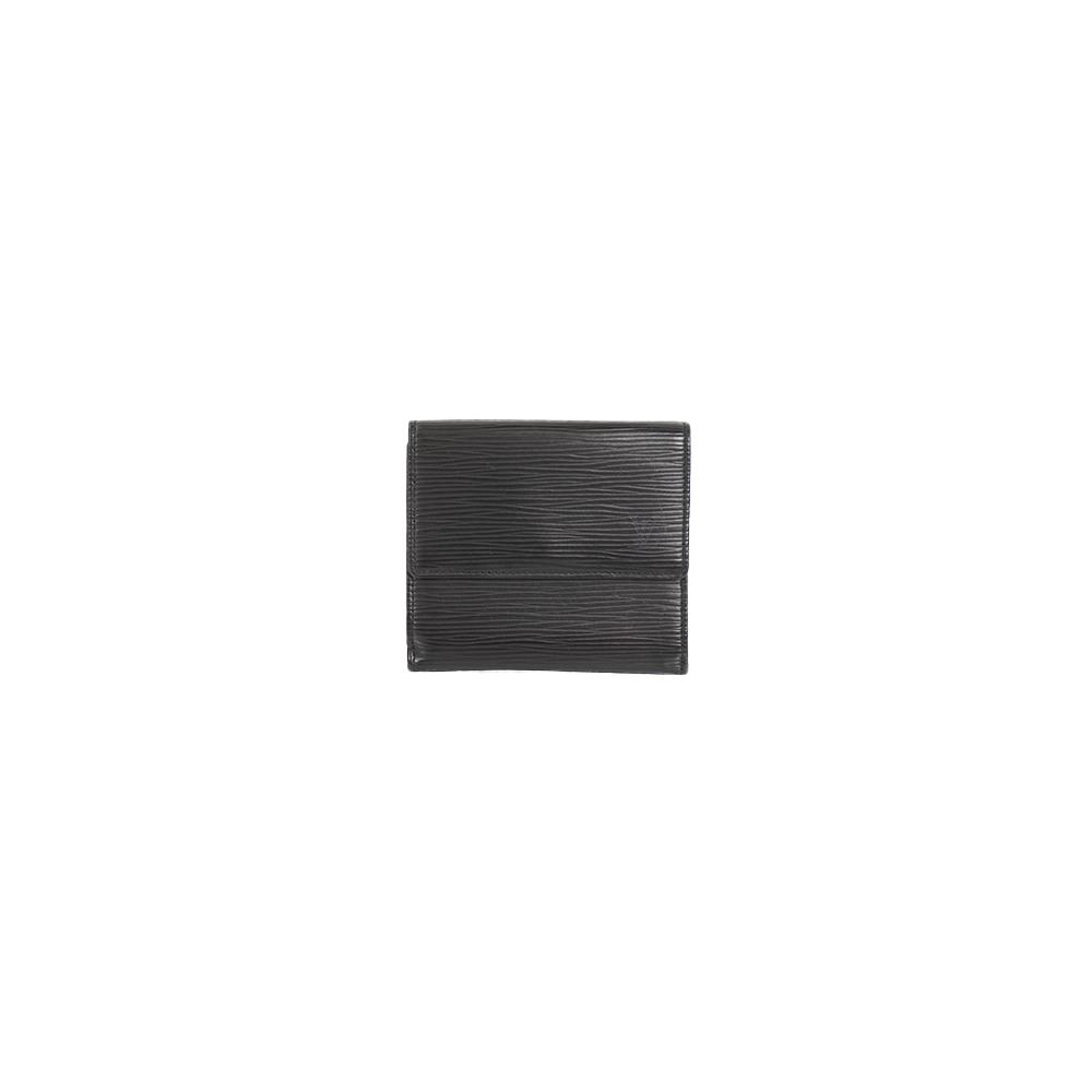 Auth Louis Vuitton Wallet Epi Porte Monnaie Billets Cartes Credit M63482 Noir