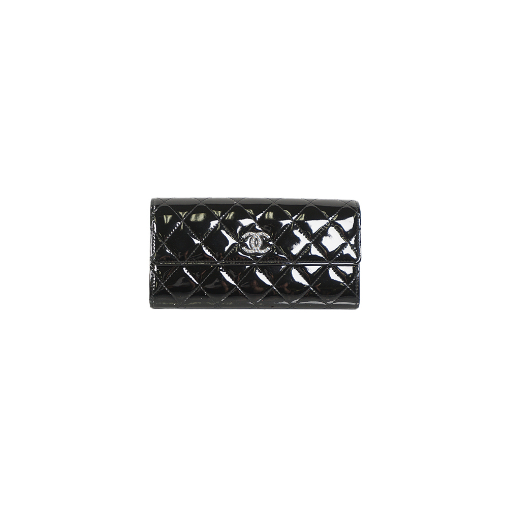 Auth Chanel Long Wallet Matelasse Patent Leather Black Silver