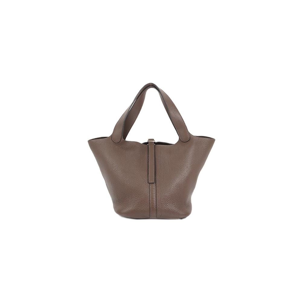 Auth Hermes Picotin MM Handbag □L Chocolat