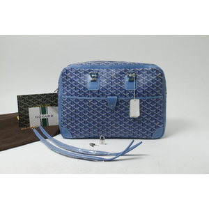 Goyard Ambassade Leather,Canvas Briefcase Blue
