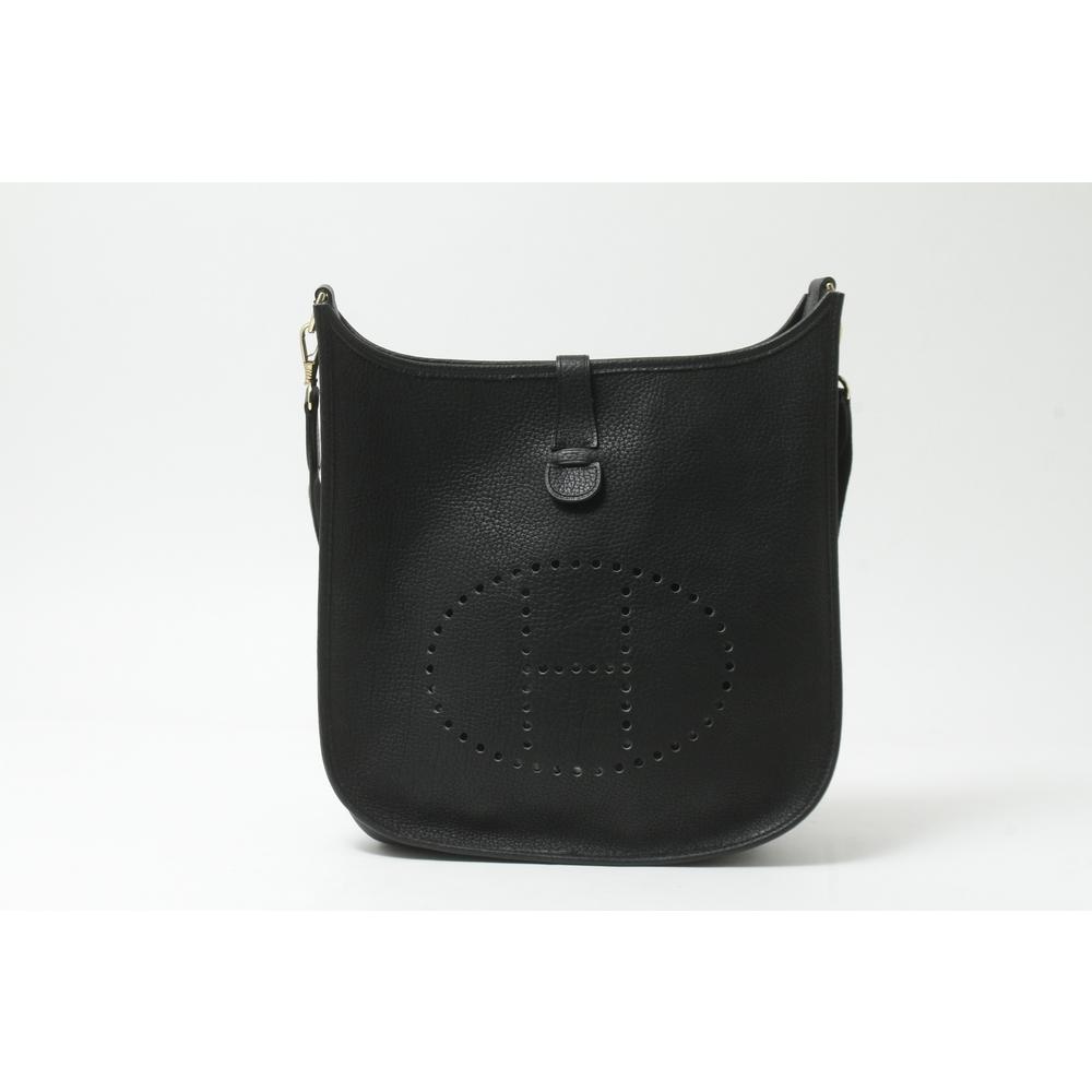 Hermes Evelyne Evelyne GM Ardennes Leather Shoulder Bag Black