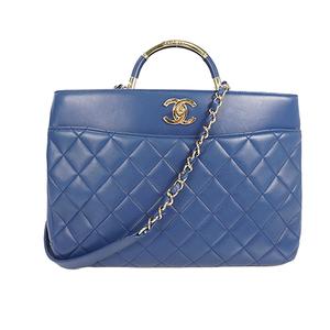 Auth Chanel 2way Shoulder Bag Matelasse Lambskin Blue Gold