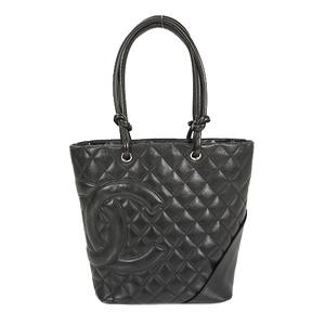 Auth Chanel Tote Bag Ligne Cambon Lambskin Black Silver