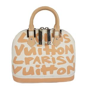 Auth Louis Vuitton Handbag Monogram Graffiti Alma MM M92180 White Beige