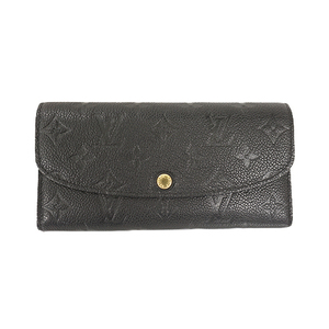 Auth Louis Vuitton Long Wallet (bi-fold) Monogram Empreinte M62369 Black