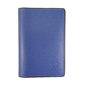 Auth Louis Vuitton Card Case Taiga Organizer de Posch M30551 Cobalt