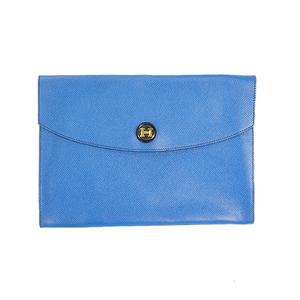 Auth Hermes Pochette Rio Cluch Bag ○U Stamp Mark  Vogarribar Blue