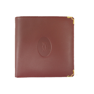 Auth Cartier Wallet Must  Wine Red Gold