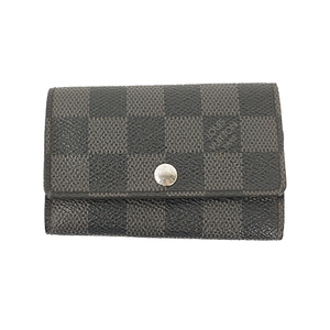 Auth Louis Vuitton Key Case Damier Graphite Multicles 6 N62662