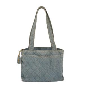 Auth Chanel Tote Bag Matelasse Denim  Blue