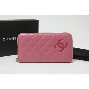 シャネル(Chanel) カンボン ラウンドファスナー長財布 21番 レディース  長財布(二つ折り) ピンク