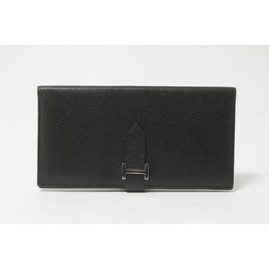 Hermes Bearn Epsom Leather Long Wallet (bi-fold) Black