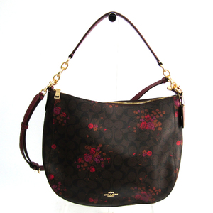 Coach Signature Hobo Flower Print F38050 Women's PVC,Leather Shoulder Bag Bordeaux,Dark Brown