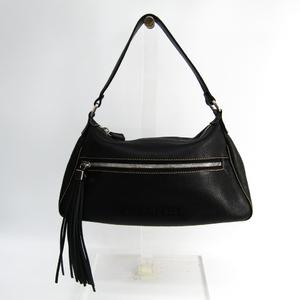 Chanel Fringe Women's Leather Shoulder Bag Black