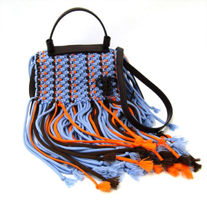 Emilio Pucci Fringe 71BD14 Women's Cotton,Leather Handbag,Shoulder Bag Blue,Dark Brown,Orange