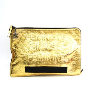 シャネル(Chanel) A82164 レディース レザー クラッチバッグ ゴールド