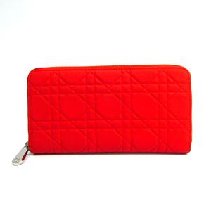 Christian Dior Canage/Lady Dior Women's Rubber Long Wallet (bi-fold) Orange
