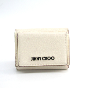 Jimmy Choo NAIMA J000103131001 Women's Leather Wallet (tri-fold) Off-white