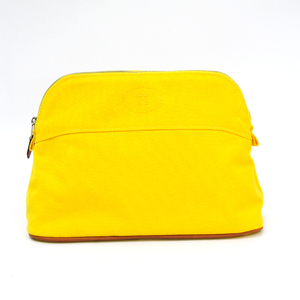 Hermes Bolide MM Women's Cotton,Leather Pouch Yellow