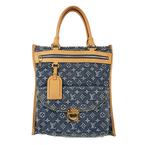 Auth Louis Vuitton Handbag Monogram Denim Flat Shopper M95018
