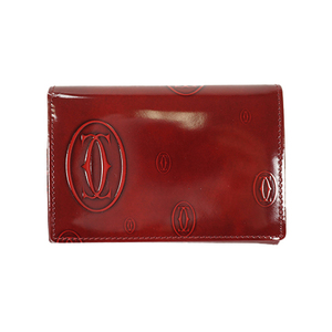 Auth Cartier Business Card Case Happy Birthday Bordeaux Gold