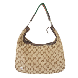 Auth Gucci Shoulder Bag Sherry Line GG Canvas Beige Gold