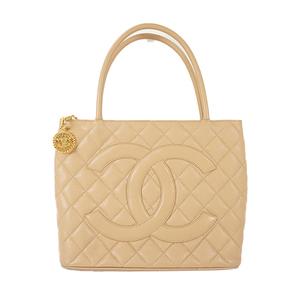 Auth Chanel Tote Bag Caviar Skin Beige Gold