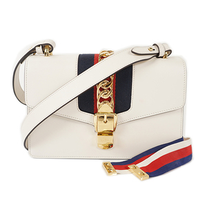Auth Gucci Shoulder Bag Sylvie White Tricolore