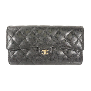 Auth Chanel Long Wallet Matelasse Caviar Leather Black Gold