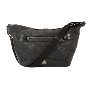 Auth Hunting World Shoulder Bag Leather Black Silver