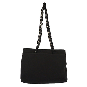 Auth Salvatore Ferragamo Chain Tote Bag Black Silver