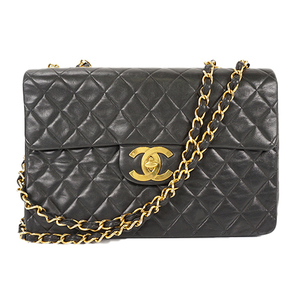 Auth Chanel Matelasse Chain Shoulder Bag Lambskin Black Gold