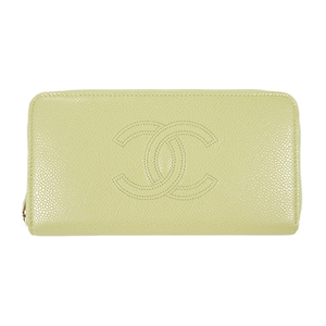Auth Chanel Round Zipper Long Wallet Caviar Leather Lime Yellow Gold