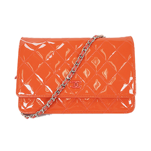 Auth Chanel Chain Wallet Matelasse Patent Leather Orange Silver